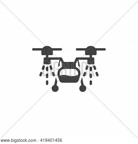 Agricultural Spraying Drone Vector Icon. Filled Flat Sign For Mobile Concept And Web Design. Agricul