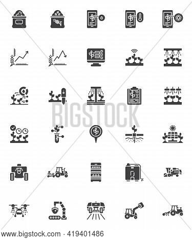 Smart Agriculture Vector Icons Set, Modern Solid Symbol Collection, Filled Style Pictogram Pack. Sig