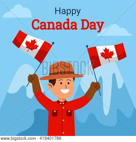 Canadian Ranger Wawing Flag To Celebrating Canada Day