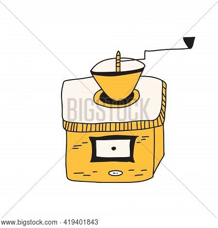 Hand Drawn Doodle Vector Illustration Of Vintage Coffee Mill Used In The Old Times To Grind Coffee B