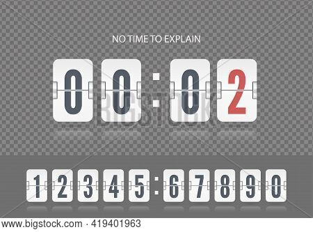 Last Second Illustration Template. White Scoreboard Number Font. Vector Coming Soon Web Page With Fl