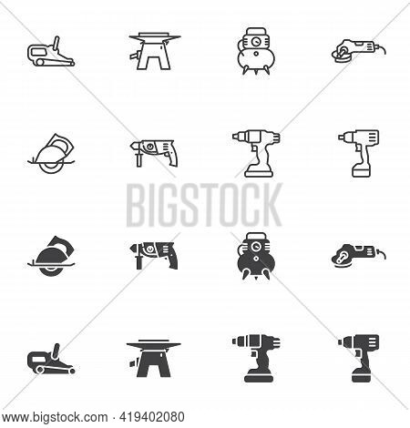 Power Tools Icon Set, Electric Tools Line And Glyph Version, Outline And Filled Vector Sign. Linear