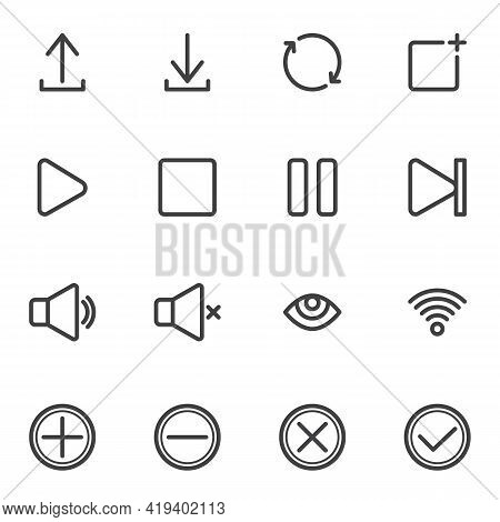 Ui, Ux Line Icons Set, User Interface Outline Vector Symbol Collection, Linear Style Pictogram Pack.