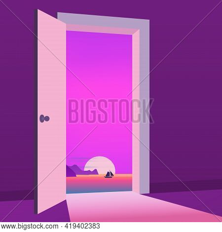 Open Door To Nature Way. Landscape Sunset Sea, Ocean, Symbol Freedom, New Way Exit, Discovery, Oppor