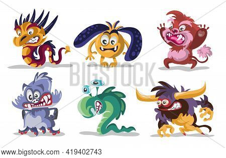 Cartoon Monsters Set. Vector Set Of Cartoon Monsters Isolated. Design For Print, Party Decoration, T