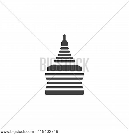 Golden Temple Vector Icon. Filled Flat Sign For Mobile Concept And Web Design. Thailand Temple Glyph