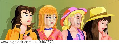 A Set Of Cute Girls Hands Illustrations In Various Clothes,hair And Hats. Vector Stickers Or Badges.