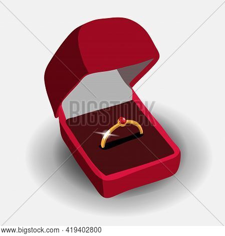 Vector Gold Engagement Ring With Red Shiny Clear Precious Stone In Red Jewelry Box Close Up Isolated
