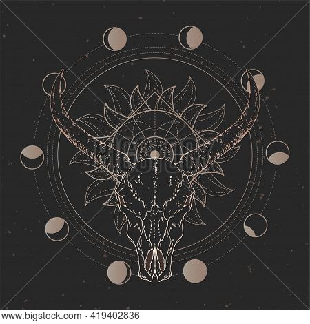 Vector Illustration With Hand Drawn Wild Buffalo Skull And Sacred Geometric Symbol On Black Vintage