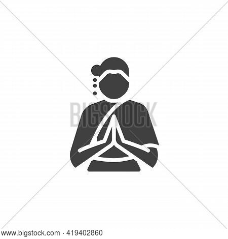 Thai Woman Vector Icon. Filled Flat Sign For Mobile Concept And Web Design. Woman Wearing Thai Dress