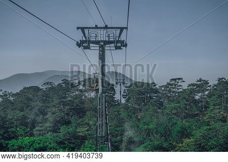 Circulating Cable Car Between Dalat Bus Station And Robin Hill Truc Lam Vietnam. Close-up View Of In