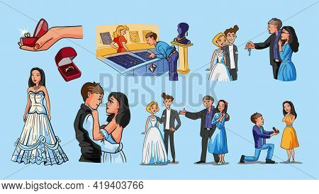 Collection With Wedding Scenes. Set With Wedding, Rings, A Guy Proposes To Girl In A Jewelry Store,