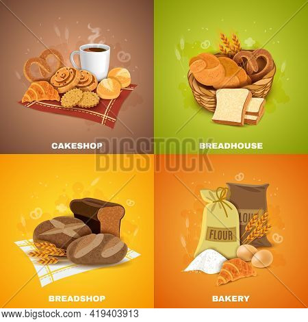 Bakery Shop For Best Quality Bread And Pastry 4 Flat Icons Square Composition Banner Abstract Vector