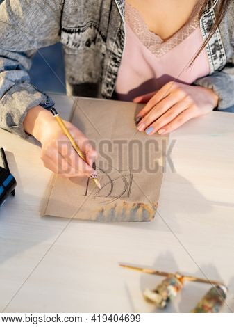 Visual Art. Drawing Skill. Imagination Talent. Unrecognizable Female Designer Hand Sketching Abstrac