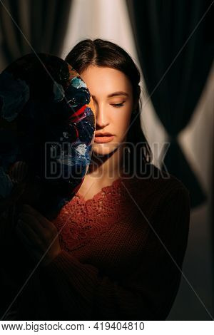 Makeup Art. Mysterious Beauty. Creative Lifestyle. Portrait Of Sensual Woman With Perfect Smooth Ski