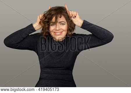 Cute Woman Making Faces. Mimic And Facial Expressions.