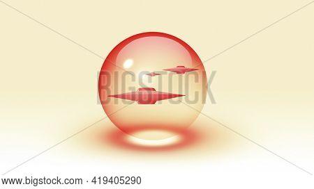 Alien fleet inside bubble. 3D rendering