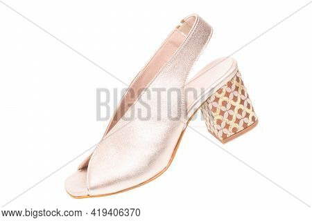 Womens Boots And Shoes. Closeup Of A Single Elegant Female Platinum Coloured Leather High-heeled Sho