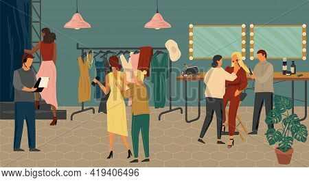 Fashion Show Backstage Concept Vector Illustration. Fashion Models Makeup And Dress Up Before Going