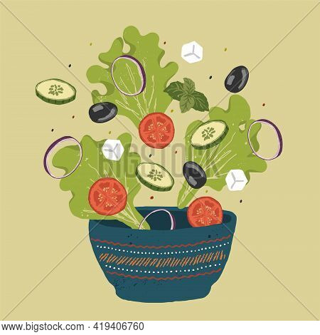 Fresh Greek Salad Of Greens And Vegetables Sprinkled In A Deep Plate. Salad Recipe With Lettuce, Tom