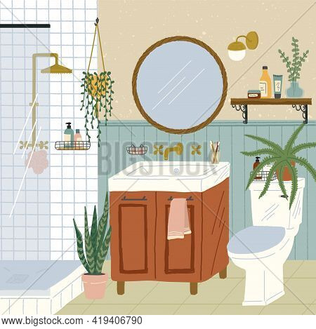 Bathroom Interior With Stand Shower, Toilet And Washstand. Hand Drawn Vector Illustration In Cozy Sc