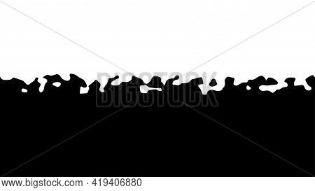 The Transition From Black To White With Uneven Border Line, Interpenetration Of Colors. Vector Illus