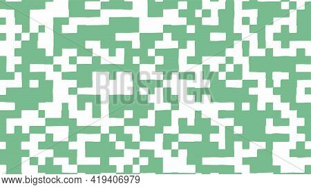 Abstract Square Pixel Background In Green And White Color. Vector Illustration.