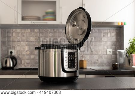 Modern Multi Cooker In Kitchen. Open, Ready To Cook.
