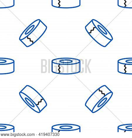 Line Scotch Icon Isolated Seamless Pattern On White Background. Roll Of Adhesive Tape For Work And R