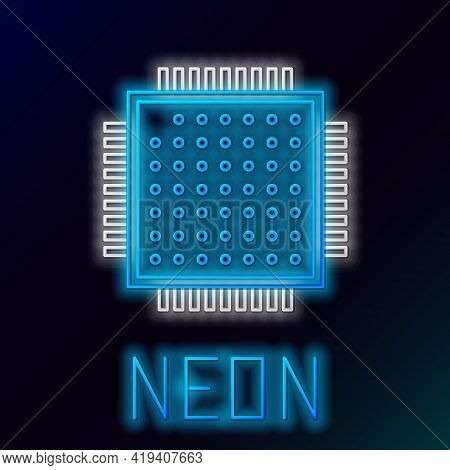 Glowing Neon Line Processor Icon Isolated On Black Background. Cpu, Central Processing Unit, Microch