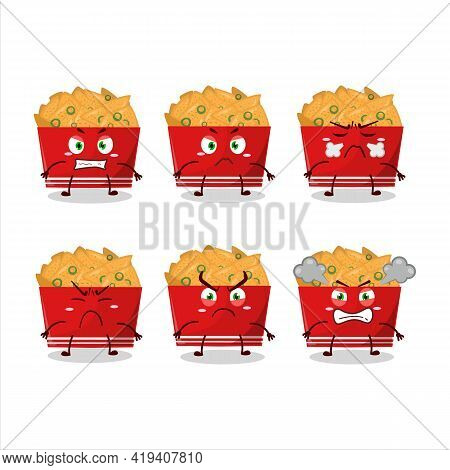 Nachos Cartoon Character With Various Angry Expressions