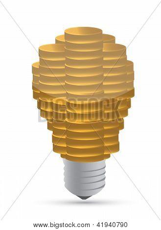 Golden Coin Lightbulb Creative Symbol Of Business