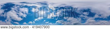 Blue Evening Sky Seamless Panorama Spherical Equirectangular 360 Degree View With Cumulus Clouds, Se