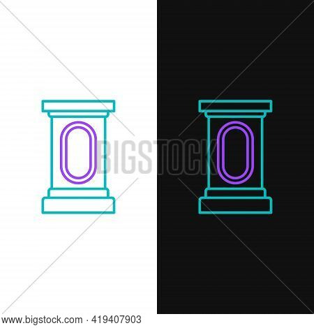 Line Stage Stand Or Debate Podium Rostrum Icon Isolated On White And Black Background. Conference Sp
