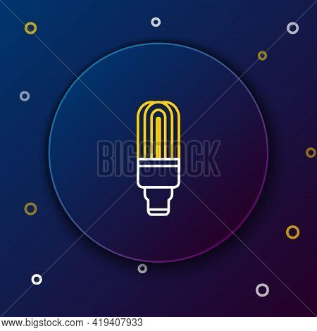 Line Led Light Bulb Icon Isolated On Blue Background. Economical Led Illuminated Lightbulb. Save Ene