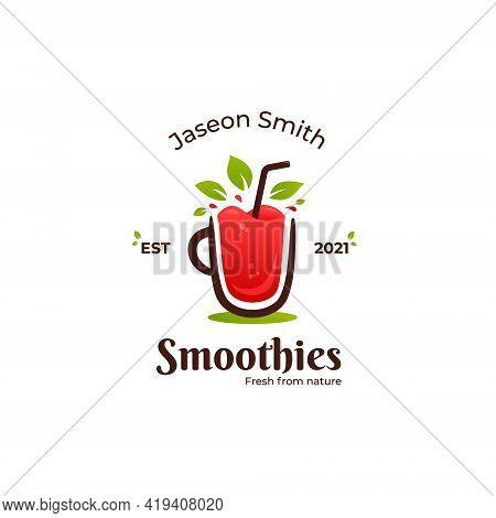 Fresh Fruit Smoothies Logo, Red Smoothie Juice Bar Liquid Logo