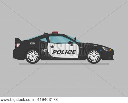American Police Super Car. Side View. Cartoon Flat Illustration. Auto For Graphic And Web.