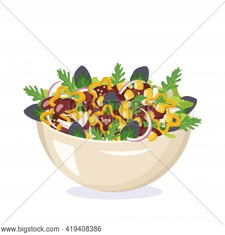 Homemade Salad Of Corn, Herbs, Beans And Peppers In A Ceramic Bowl. Vegetarian Dish Made From Legume
