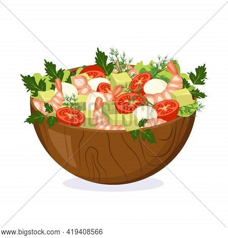Homemade Salad Of Fresh Vegetables, Herbs, Shrimp And Cheese In A Wooden Bowl. Cooking Delicious Foo