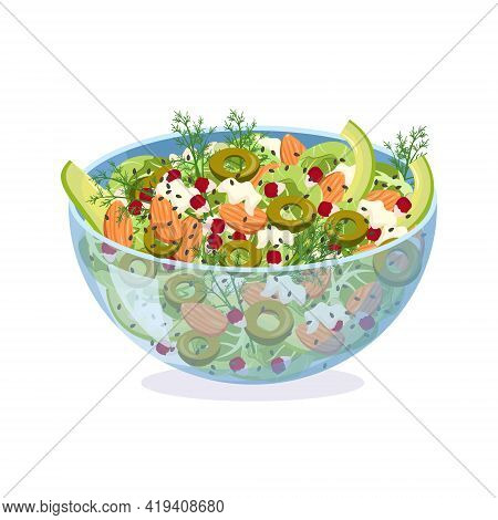 Homemade Salad Of Fresh Vegetables, Herbs, Olives And Cheese In A Glass Bowl. Dish With Almonds, Pom