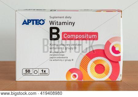Pruszcz Gdanski, Poland - April 30, 2021: Apteo Viamin B Compositum.