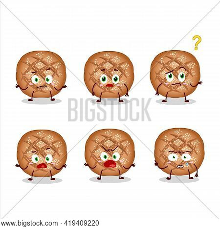 Cartoon Character Of Round Dark Bread With What Expression