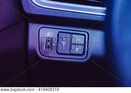 Novosibirsk, Russia - April 25 2021: Hyundai Solaris ,  Close-up Of The  Headlight Setting Buttons U