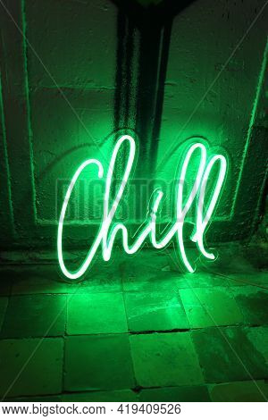 Green Neon Sign Chill. Trendy Style. Neon Sign. Custom Neon. Home Decor.