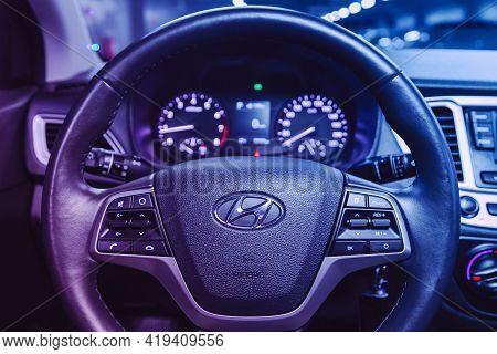 Novosibirsk, Russia - April 25 2021: Hyundai Solaris , Interior Of New Modern Suv Car With Automatic
