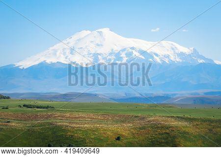 View Of The Highest Mountain In Europe - Elbrus, 5642m. Located In Russia, Caucasus. Elbrus Is Of Vo