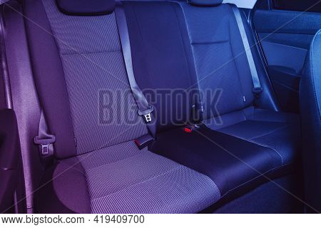 Novosibirsk, Russia - April 25 2021: Hyundai Solaris , Clean Car Interior: Black Back Seats, Headres