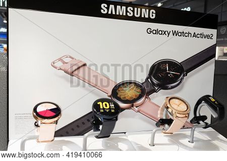 Bordeaux , Aquitaine France - 05 02 2021 : Galaxy Watch Active 2 Logo Sign And Brand Text Of New Mod