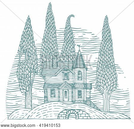 Decorative Illustration With A Log Country Two-story House And Slender Trees On A Hill. Contour Draw