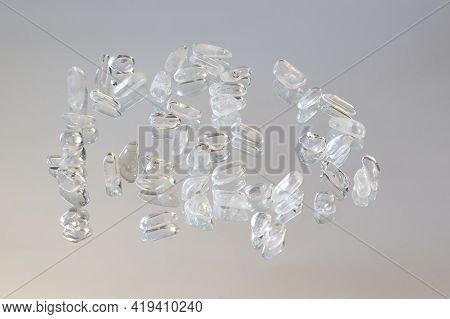 Samples Of Natural Mineral From Geological Collection - Rolled Colorless Rock Crystal Gem Stone On M